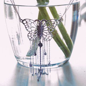 Jewelry - Silver Butterfly Choker with Amethyst and Diamond